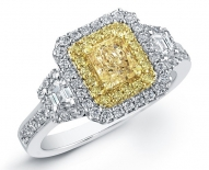 Vintage Double Halo With Fancy Yellow Center Diamond Enagement Ring
