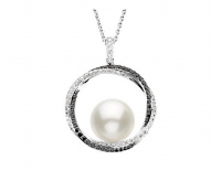 14kt White Gold South Sea Cultured Pearl with Black and White Diamonds Necklace.