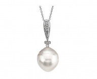 14kt White Gold South Sea Cultured Pearl and Diamonds Necklace