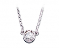 14kt White Gold Diamond Bezel Solitaire Pendant.