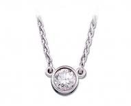 14kt White Gold Diamond Bezel Solitaire Pendant.