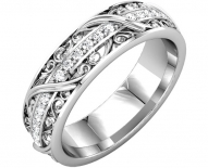 Mens Vintage Engraved Filigree and Diamond Wedding Band