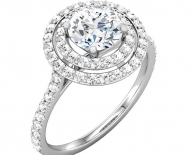 Classic Vintage Double Halo Engagement Ring