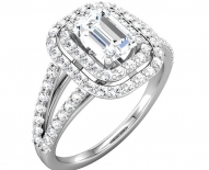 Vintage Double Halo Emerald Cut Engagement Ring