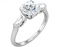 Classic Petite Baguette and Round Diamond Solitaire Engagement Ring