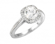 Classic Vintage Cushion Halo with Round Brillant Cut Engagement Ring