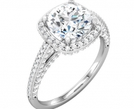 Vintage Cushion Halo with Round Brillant Cut Engagement Ring