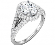 Split Shank Vintage Halo Oval Enagement Ring