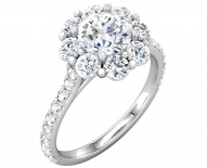 Traditional Flower Cluster Round Brilliant Enagement Ring