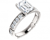 Contemporary Emerald Cut Diamond Engagement Ring