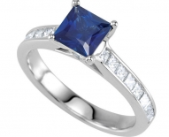 Contemporary Sapphire and Diamond Cathedral Engagement Ring