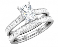 Contemporary Princess Cut Diamond Cathedral Engagement Ring