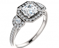 Vintage Styled Three Stone Halo Engagement Ring