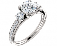 Vintage Styled Three Stone Engagement Ring