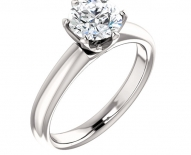 Contemporary Wide Band Solitaire Engagement Ring