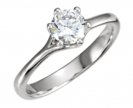 Contemporary Split Shanked 6 Prong Solitaire Engagement Ring