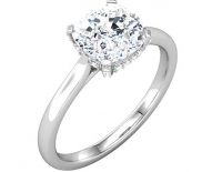 Vintage Styled Pave Diamond Solitaire Engagement Ring