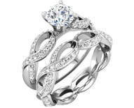 Vintage Twisted Pave Engagement Ring With Pave Center