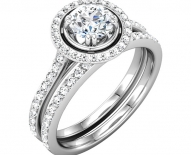 Classic Vintage Single Halo Engagement Ring WIth Matching Band