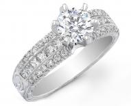 Vintage Princess and Round Cut Diamond Engagement Ring