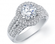 Wide Vintage Double Halo Engagement Ring