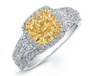 Vintage Halo Engagement Ring With Fancy Cushion Cut Yellow Diamond