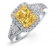 Classic Elongated Fancy Yellow Cushion Cut Engagement Ring