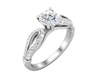 Classic Pave Engagement Ring With Round Brilliant Center
