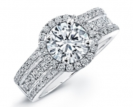 High Fashion Single Halo Engagement Ring